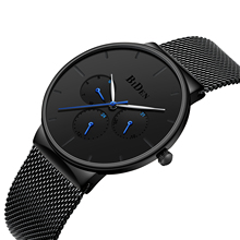 BIDEN Classic Mens Watch Fashion Simple Design Male Clock Week Calendar Wristwatch Waterproof Black Mesh Strap Relogio Masculino