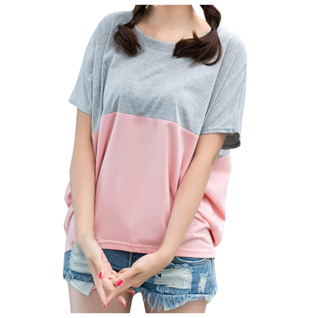 Fashion Patchwork Tunic Tops For Women Summer O-neck Short Sleeve Shirts Loose Blouses Casual Women Clothing Блузка Женская 2021 4