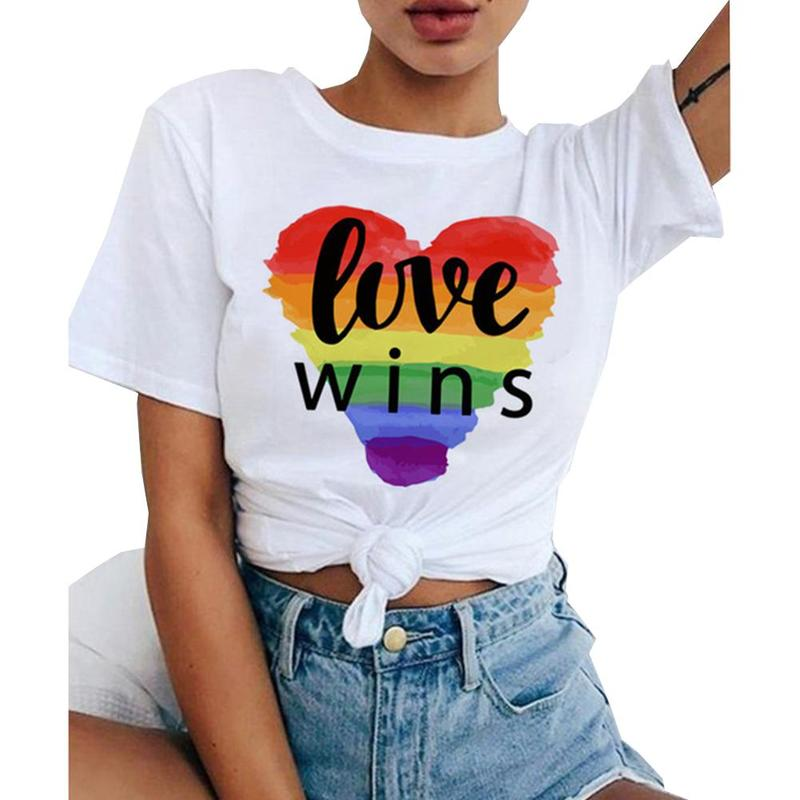 Unisex T Shirt Love Wins Female <font><b>Bisexual</b></font> Lesbian Gay Love Is Love <font><b>Tshirt</b></font> Women Rainbow Top Tees Support Drop Shipping image