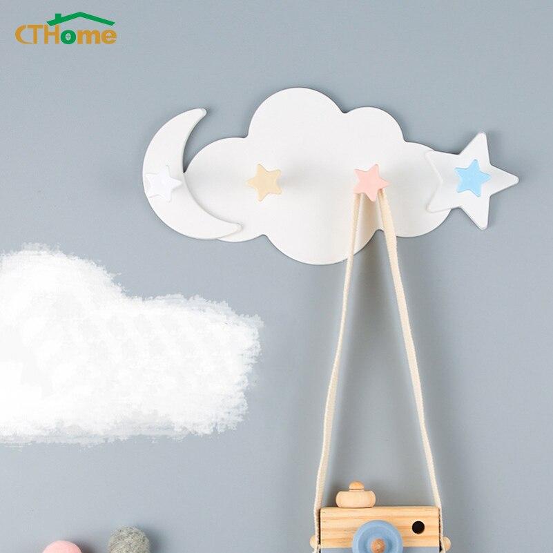 Creative Star Moon Cloud Shape Nail-free Hat Clothes Hooks Shelf Hanging Hanger Towel Hat Bag Organizer Kids Room Household Home