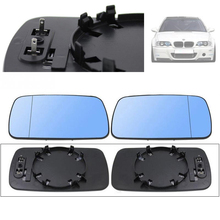 New Pair Heating Side View Mirror Blue Tinted Glass Heated For BMW E39/E46 320i