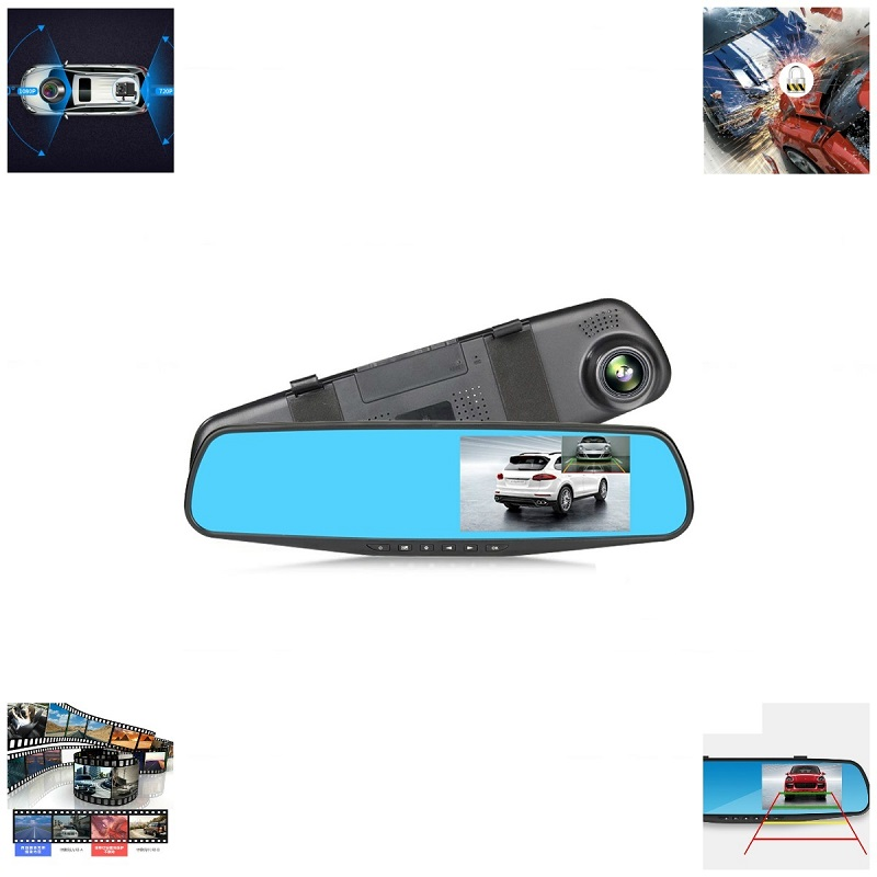 Car Dvr Camera Rearview-Mirror Camcorder Dual-Lens Registratory Auto-4.3inch 1080P Full-Hd