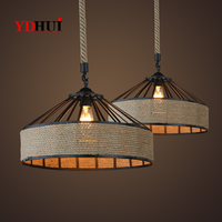 E27 Vintage Hemp Rope Pendant Light Industrial Retro Lamp Base Loft Bedroom Dining Room Cafe Bar Decoration Iron Pendant Lamps