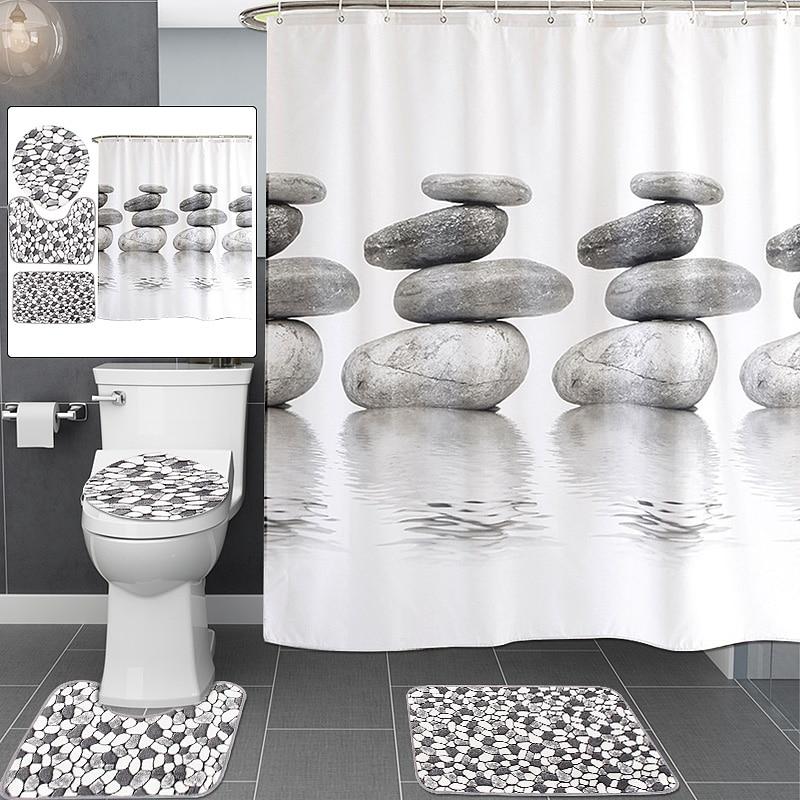 Cobblestone Pattern Waterproof Bathroom Shower Curtain Toilet Cover Bath Mat Non-Slip Rug Set Bathroom Accessories with 12 Hook