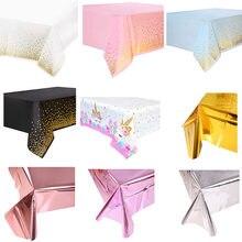 Cubierta para mesa impermeable de lámina brillante, cubierta para mesa de tela Rectangular para fiesta de boda, cumpleaños, decoración de ducha de bebé, oro rosa, 1 ud.