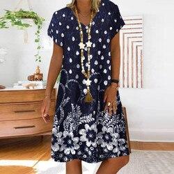 Женское летнее платье в горошек с цветочным принтом, летнее свободное платье в стиле пэчворк с V-образным вырезом и короткими рукавами, женс...