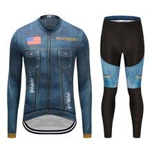 цена на Spring Autumn 2019 Mens Pro Team Long Sleeve Cycling Jersey Bike bib Pants Set Mens Ropa Ciclismo Quick Dry bicycle Long Sets