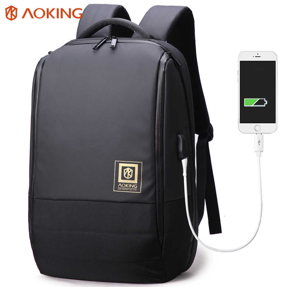Aoking Anti-theft Waterproof Business Backpack 17.5 Inch 2019 Travel Laptop Bags with USB Charger Port Leather Bag for Men Women