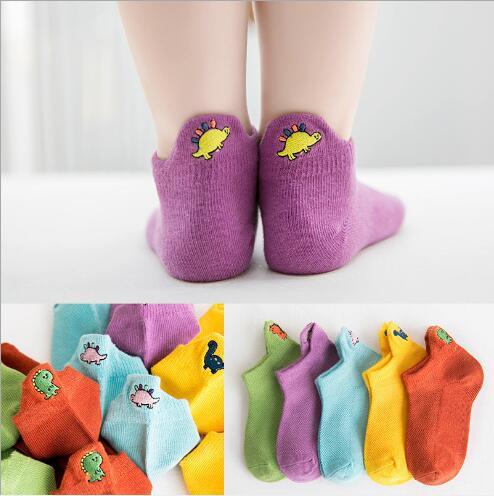 5Pairs Pack Children's Socks Wholesale Children's Socks Spring And Summer Dinosaur Embroidery Boat Mesh Baby Socks