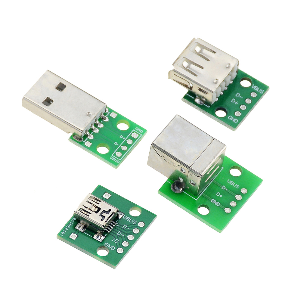 Micro Mini USB USB A Male USB 2.0 A <font><b>Female</b></font> USB B <font><b>Connector</b></font> Interface to <font><b>2.54mm</b></font> DIP PCB Converter Adapter Breakout Board image