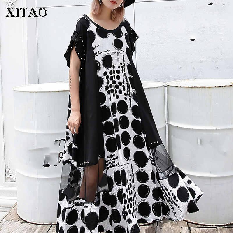 XITAO Dot Splice Mesh Niet Midi Kleid für Frauen Oversize Sommer Kurzarm Sexy Frauen Plus Größe Kleid Mode 2019 DLL3570