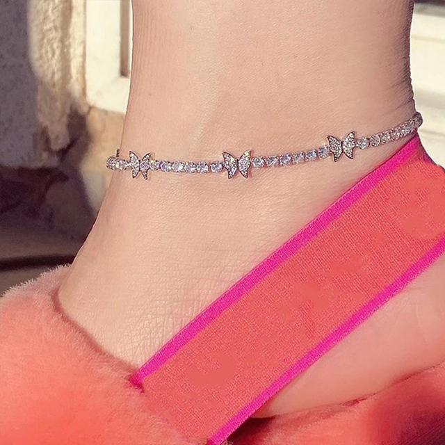 Stonefans Crystal Butterfly Anklet Bracelet for Women Barefoot Ankle Tennis Anklet Chain Beach Accessories Wholesale Female Gift 5