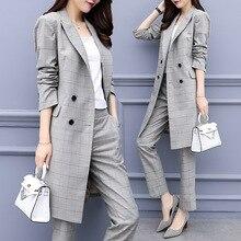 Spring Autumn Women Office Lady Pant Suits OL Long Blazer Suit