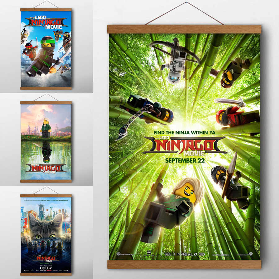 The Lego Ninjago Movie Cartoon Posters and prints  Wall Art Canvas Cloth Solid Wood Scrolls Paintings For Living Room Decor