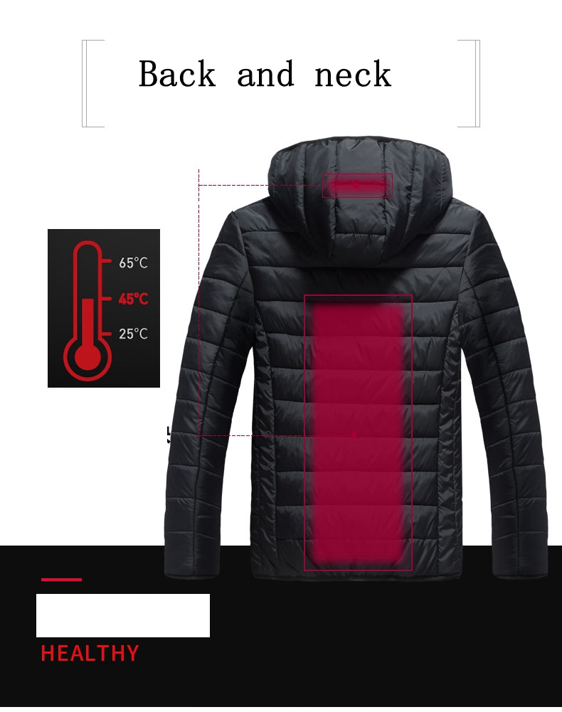 Men Waterproof Heated Winter Warm Electric USB Jacket Infrared Winter Men Smart Outdoor Heating Hooded Parkas Warm Thermal Coat