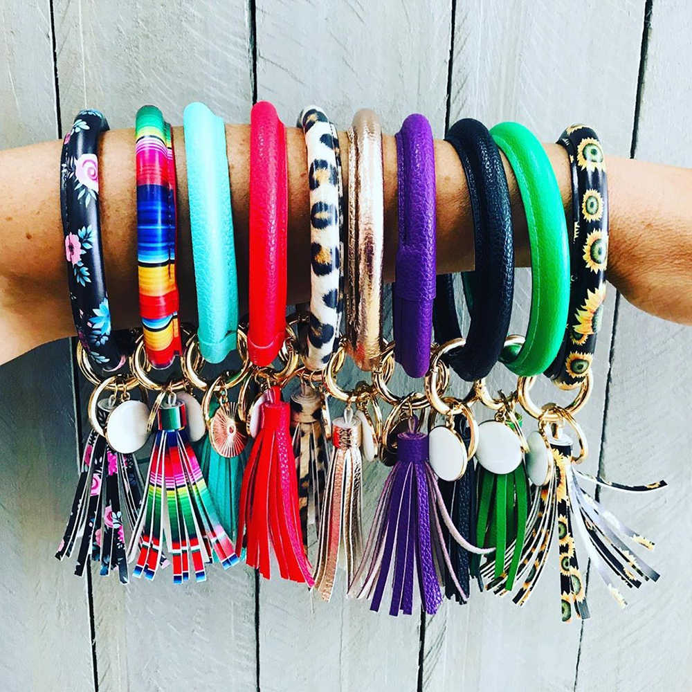 Flatfoosie Multicolor PU Leather O Key Chain Custom Circle Tassel Wristlet Keychains Women Girl Key Ring Wrist Strap Wholesale