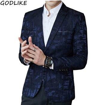 Printed Blazer British Stylish Mens Slim Fit Blazer Suit Jacket Business Casual One Button Blazer For Men Blazer Masculino фото