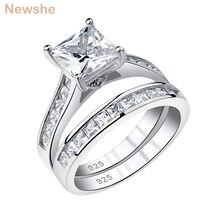 Newshe Женское Обручальное кольцо набор 7 мм Принцесса Cut Циркон 925 серебро обручальные кольца классические ювелирные изделия для женщин QR5853