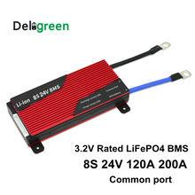 Deligreen 8S 120A 150A 200A 250A 24V PCM/PCB/BMS עבור 3.2V LiFePO4 סוללה חבילה 18650 Lithion ליתיום עם פונקצית איזון
