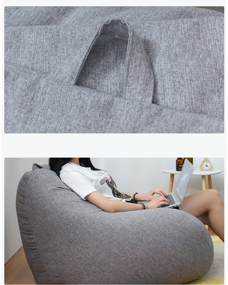 Lazy BeanBag Sofa Cover Chairs Cover without Filler Linen Cloth Lounger Seat Bean Bag Asiento Couch Tatami Living Room Furniture 5
