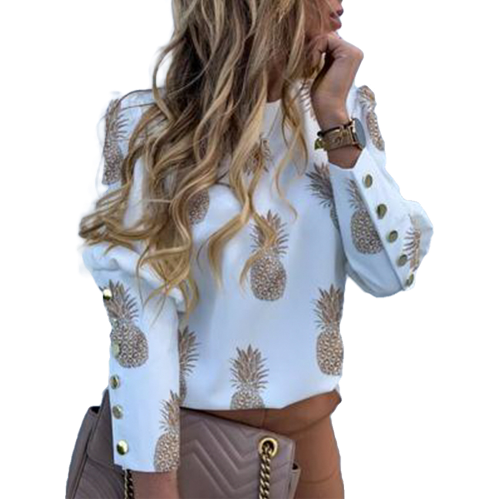 New Elegant Puff Shoulder Blouse Shirts Office Lady Autumn Metal Buttoned Detail Blouses Women Pineapple Print Long Sleeve Tops
