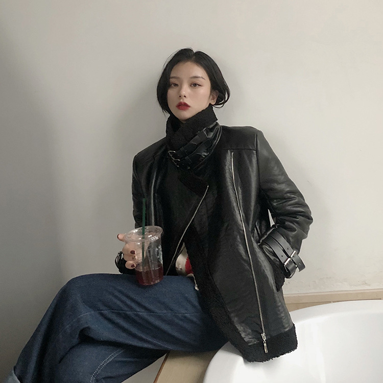Photo Shoot 2019 South Korea Korean-style New Style Autumn And Winter Leather Coat Brushed And Thick Fur Locomotive Lambs Wool C