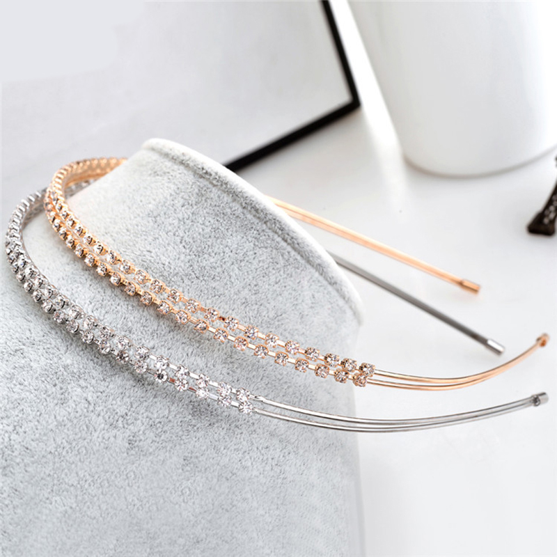 1PC Fashion Crystal Rhinestone Headband Gold Silver Color Hairbands Women Female Sweet Headpiece Hair Hoop Girl Hair Accessories