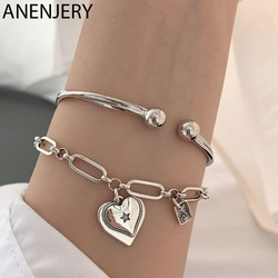 ANENJERY 925 Sterling Silver Wave Bangle Bracelet for Women Love Heart Thai Silver Bracelet Jewelry Gifts S-B476