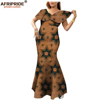 african women dress AFRIPRIDE private custom autumn new fashion long party dress ankle length  Wax fabric plus size A722554