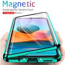 360 ° מגנטי Flip מקרה עבור Xiaomi Redmi הערה 10 פרו 10Pro Note10 4G note10s s דו צדדי זכוכית ספיחה מתכת פגוש כיסוי