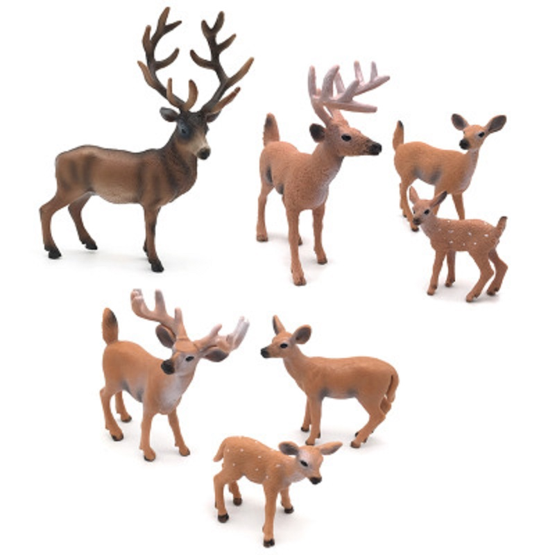 Children's Early Education Toys Wild Animal Model Solid Plastic Forest Simulation White Tail Deer A Model Ornaments