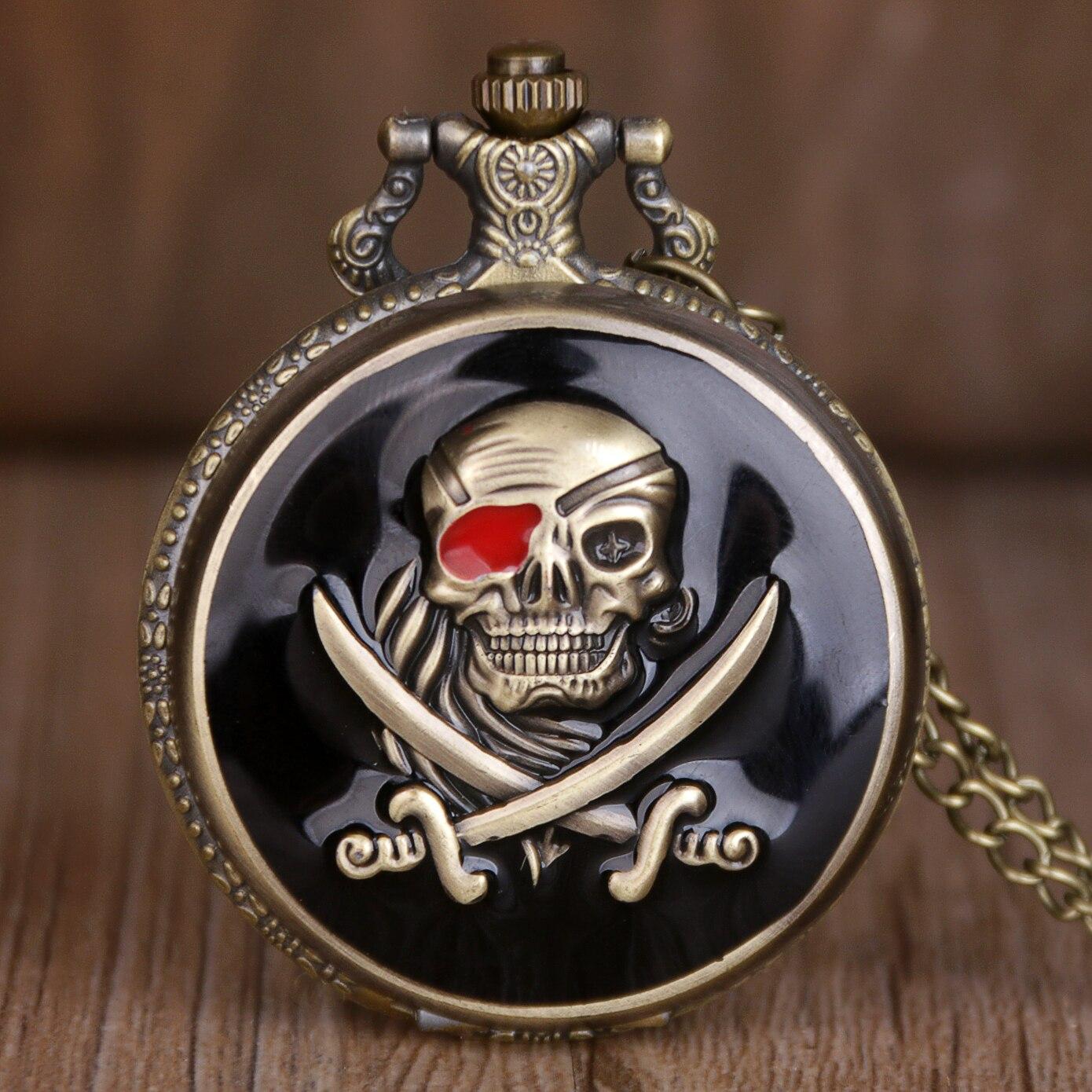 New Bronze Skull Pocket Watch Necklace Chain Vintage Quartz Pocket Fob Watches White Dial Men Women TD2004