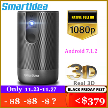 Smartldea D29 נייד 3D dlp מקרן native מלא HD 1920 1080p כף יד אנדרואיד wifi 4K מקרן לבנות סוללה בית Proyector