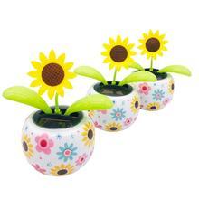 6-style Creative Solar Powered Dancing Flower Car Dashboard Ornaments Swinging T