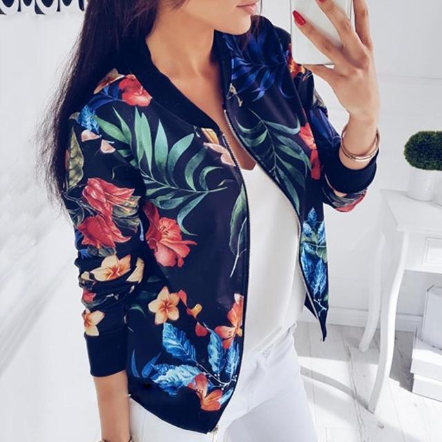 Fashion Flower Leaves Print Jacket Long Sleeved Zipper Coat  1