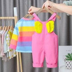 Arco-íris ângulo asas bonito 2 pçs 1-5y macacão bebê primavera conjunto de roupas listrado criança jumper camiseta e calças suspender conjunto