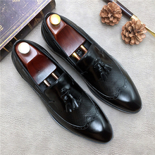 QYFCIOUFU 2019 Autumn New Fashion Genuine Leather Business Office Shoes Men Classic Oxford Shoes Tassel Male Formal Dress Shoes