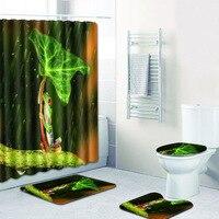 4pcs/set Frog Green Leaf Print Waterproof Shower Curtain Polyester Fabric Floormat Carpet Anti slip Bath Mat Toilet Seat Cover