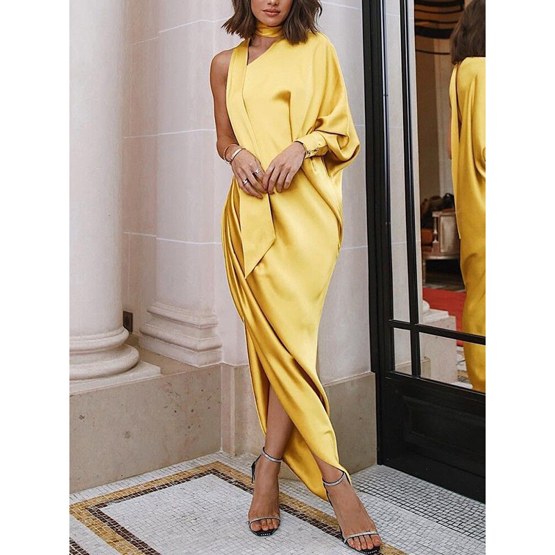 Missord 2019 Sexy Irregular Neck One Shoulder Women Party Dresses Split Solid Color Pleated Women Maxi Dresses MC069
