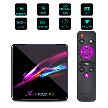 X88 Pro X3 Smart Android 9.0 TV Box Amlogic S905X3 2.4G/5G Wifi BT4.1 1000M 4K 8K Media Player Google Netflix Set Top Box 2020 t95k pro android 7 1 kodi smart tv box amlogic s912 octa core 4k 2 3g 16 32g bt4 1 5g wifi media player set top box android tv