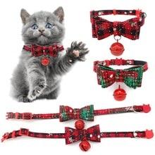 Рождественский ошейник для домашних животных, кошек, собак, колокольчик, регулируемый галстук-бабочка, шейный ремень, аксессуары для ухода за собаками, товары для домашних животных, рождественские товары
