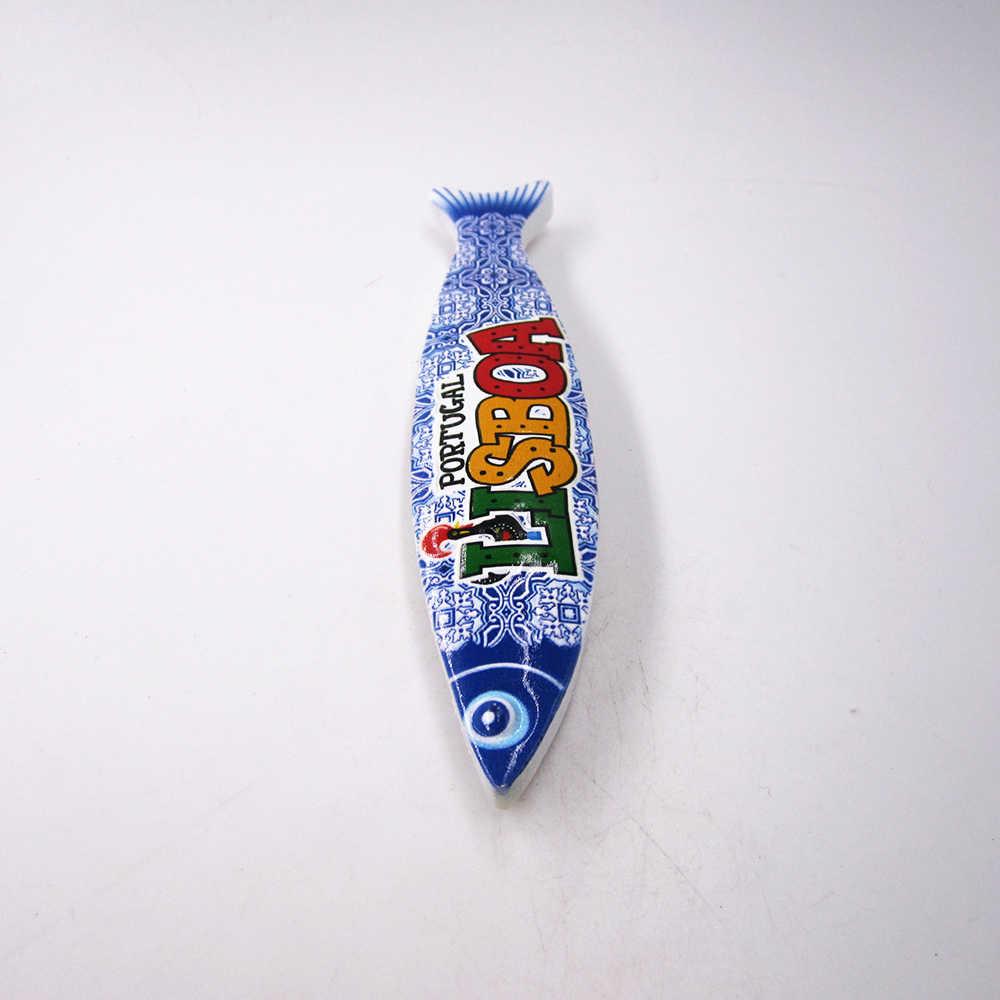 Imán de nevera souvenir Fish Lisboa Portugal imanes de recuerdo pegatina regalo cocina decoración del hogar para refrigerador magnético