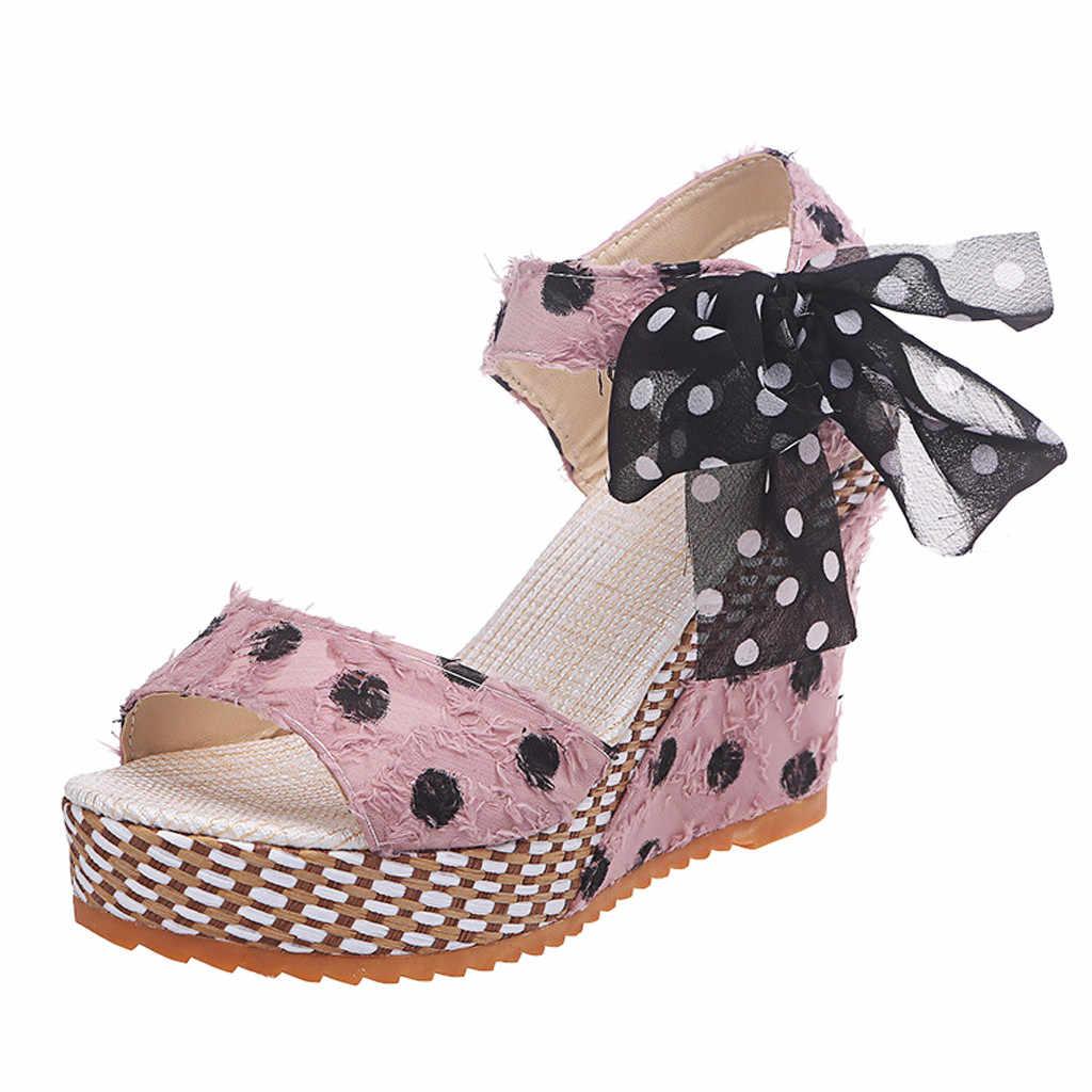 Delle donne Delle Signore Sandali Della Piattaforma Dei Cunei Scarpe Donna Peep-Toe Sandali del Tallone di Modo Dot Lace-up Scarpe Calzature sandalia feminina