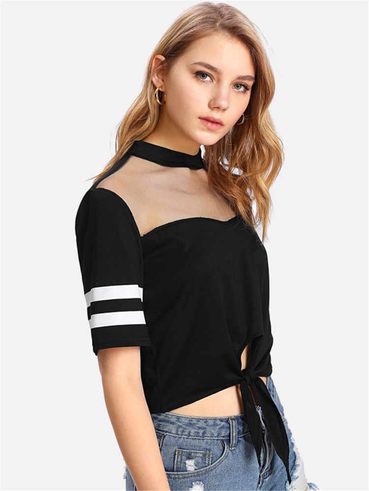 T camisa feminina primavera verão fio líquido emenda sexy listra manga curta tshirt vintage roupas femininas vestidos blk1014