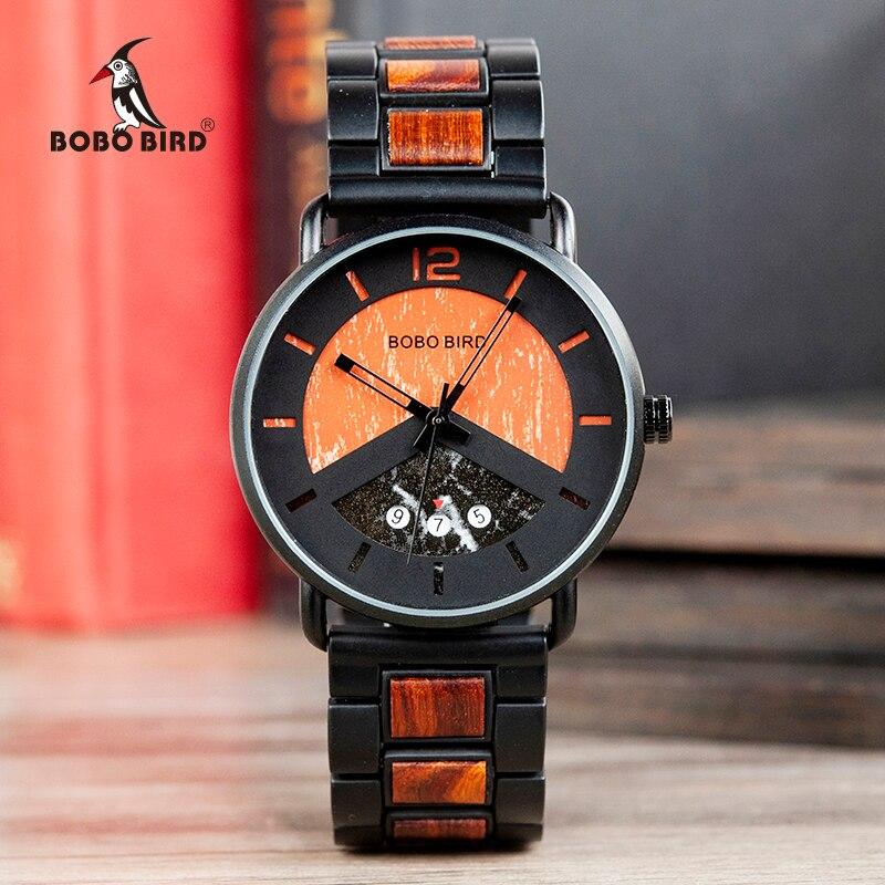 Saat Erkek BOBO BIRD Wood Watches Men Wristwatch Quartz Clock BOBO BIRD Show Date For Him Gift In Wood Box Customize Logo