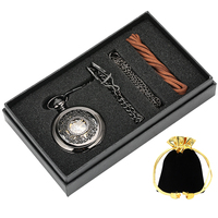 Hand winding Mechanical Pocket Watch Necklace Chain Gifts Box Unisex Hollow Out Black Dial Durable Black Case Pocket Watch