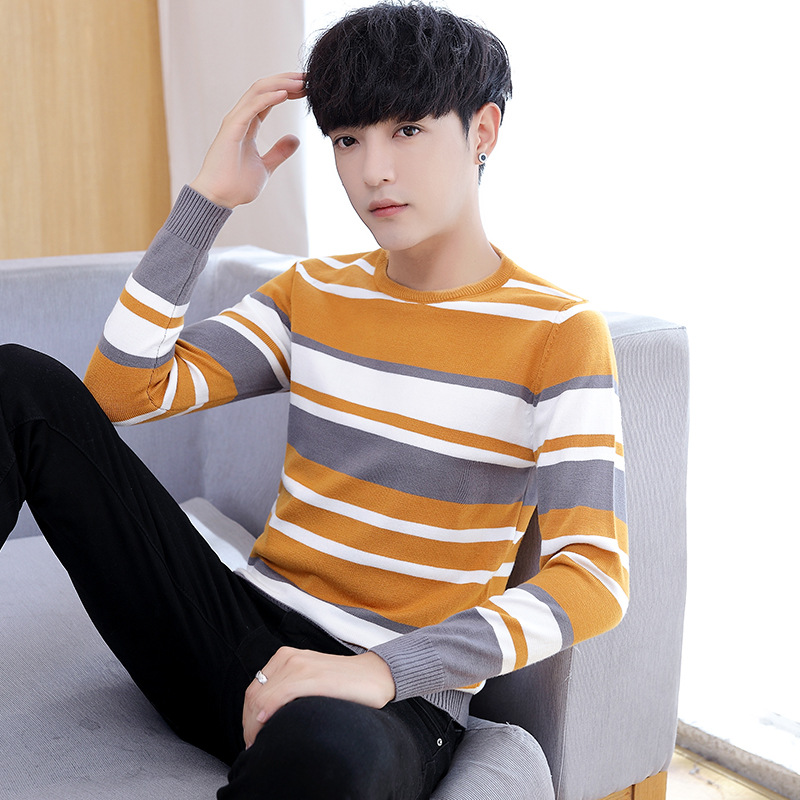 Men Sweaters Long Sleeve Spring Autumn Black Yellow Gray Green O-Neck Pullovers Casual New Fashion Mens Sweater