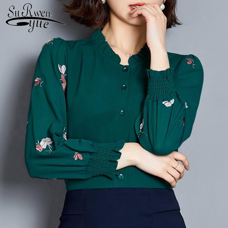 Womens Clothing 2019 Women's Blouses Plus Size Women White Shirt Long Sleeve Shirts Chiffon Blouse Ladies Tops Shirts 2640 50