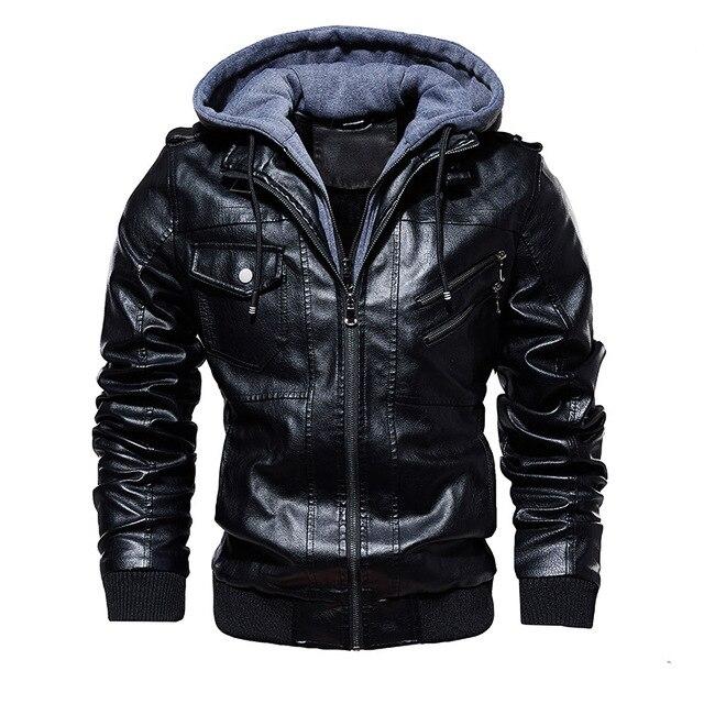 FGKKS hommes moto en cuir vestes hiver mâle mode décontracté à capuche Faux veste hommes chaud vestes en cuir synthétique polyuréthane manteaux 1