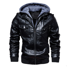 Image 2 - FGKKS Men Motorcycle Leather Jackets Winter Male Fashion Casual Hooded Faux Jacket Mens Warm PU Leather Jackets Coats